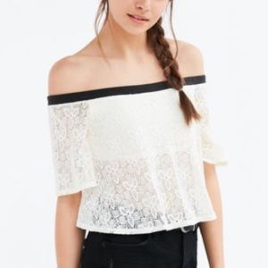 Urban Outfitters Off The Shoulder Lace Crop Top